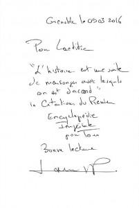 dedicace de Laurent Poujois pour L'ange blond