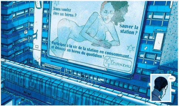 une publicité dans shangri-la de mathieu bablet