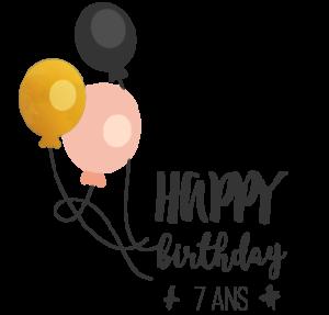 logo anniversaire pipelettes 7 ans